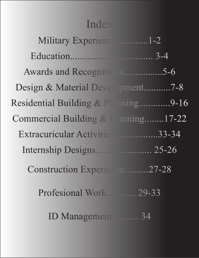 Index  Military Experience.............1-2 Education.................................. 3-4 Awards and Recognitions.........