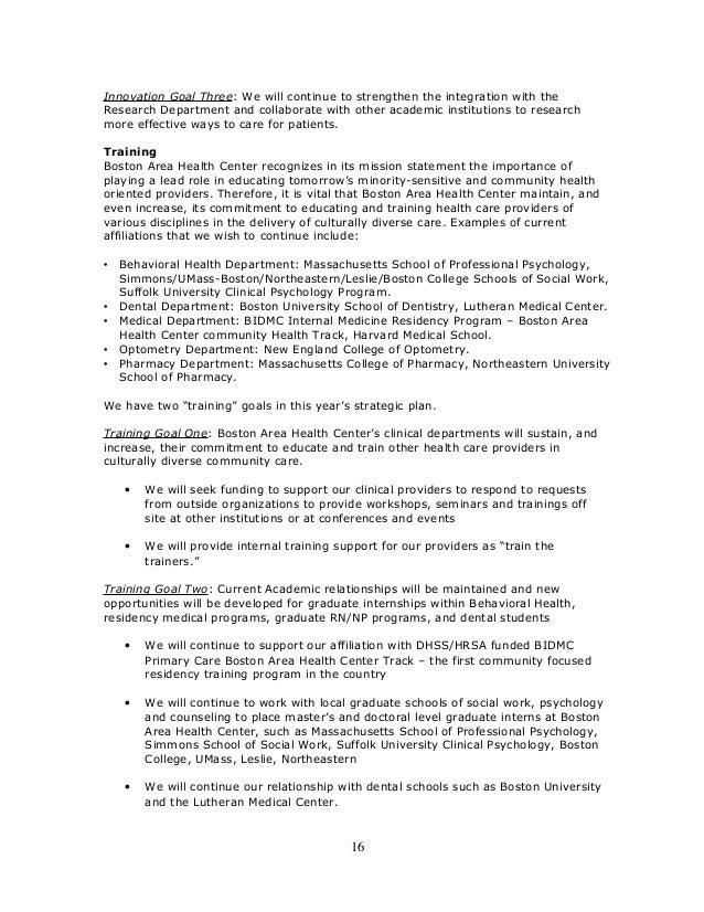 Sample Health Center Strategic Plan June 2012