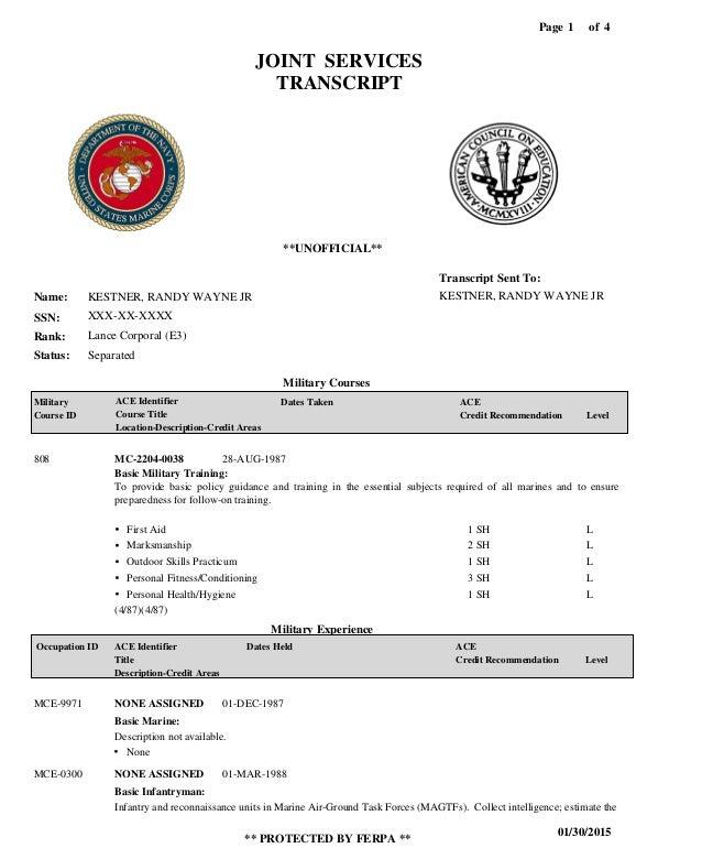 military transcript