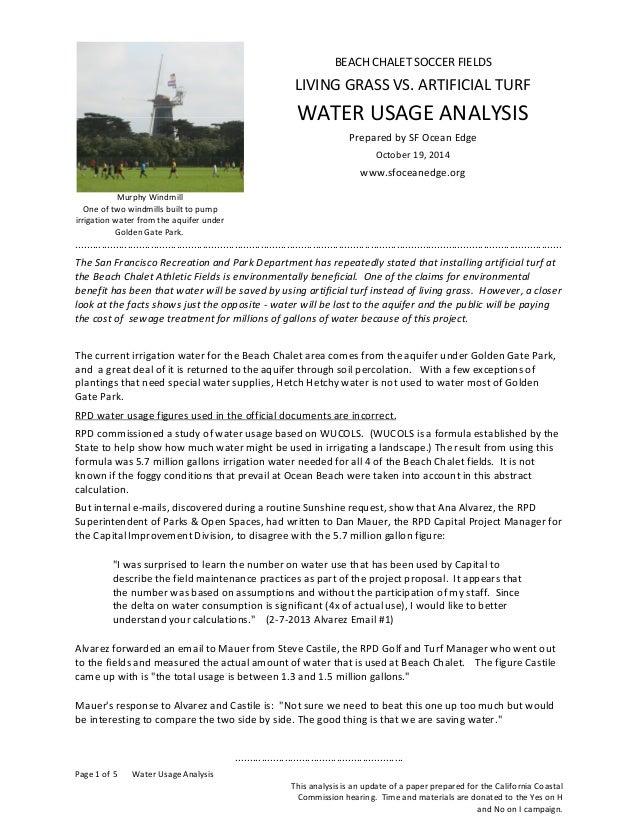 Beach Chalet Soccer Fields - Water Usage Analysis of Grass vs. Artificial Turf