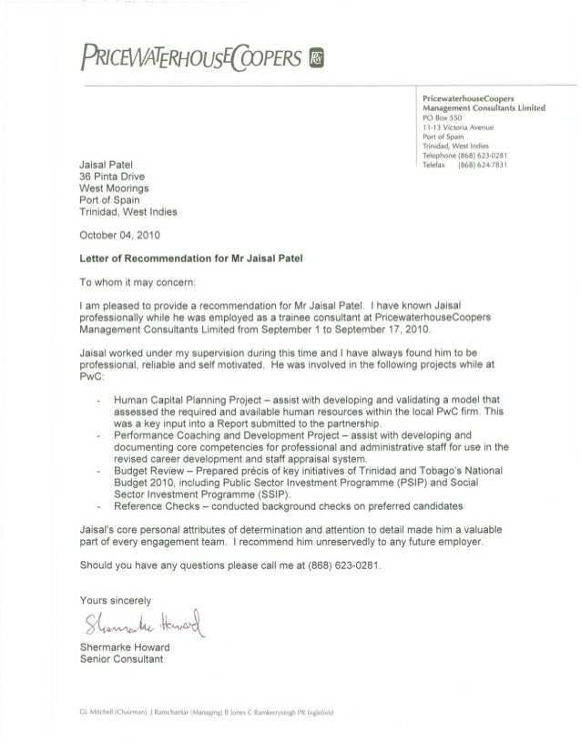 recommendation letter samples pricewaterhousecoopers reference letter 2244