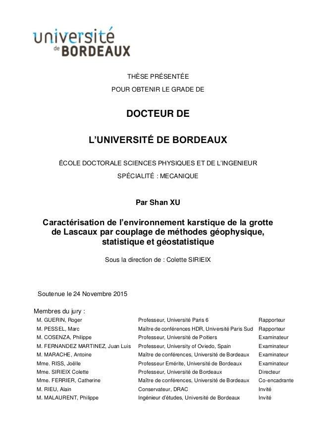 THÈSE PRÉSENTÉE POUR OBTENIR LE GRADE DE DOCTEUR DE L'UNIVERSITÉ DE BORDEAUX ÉCOLE DOCTORALE SCIENCES PHYSIQUES ET DE L'IN...