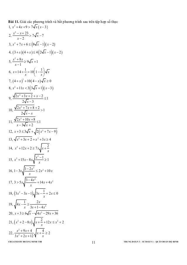 Bài 11. Giải các phương trình và bất phương trình sau trên tập hợp số thực1, x 2 + 4 x + 9 > 7 x ( x − 3)      x 2 − x + 2...