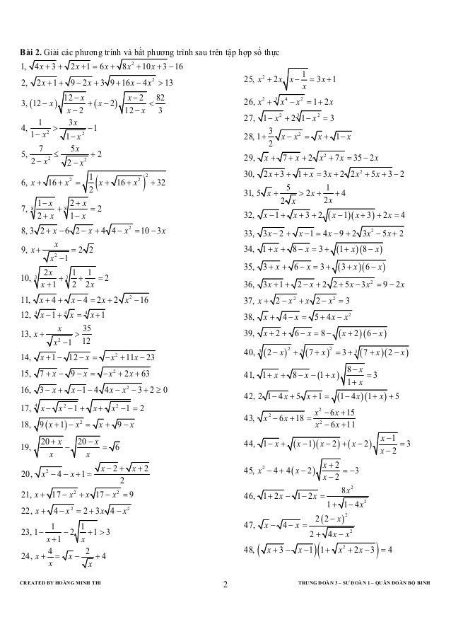 Bài 2. Giải các phương trình và bất phương trình sau trên tập hợp số thực1, 4 x + 3 + 2 x + 1 = 6 x + 8 x 2 + 10 x + 3 − 1...