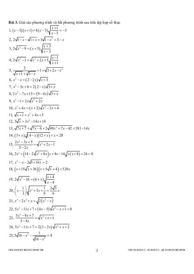 Bài 3. Giải các phương trình và bất phương trình sau trên tập hợp số thực                                 x +11, ( x − 3)(...