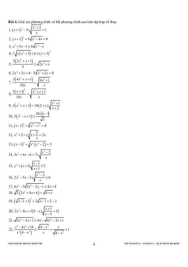 Bài 4. Giải các phương trình và bất phương trình sau trên tập hợp số thực                                       x2 + 21, (...