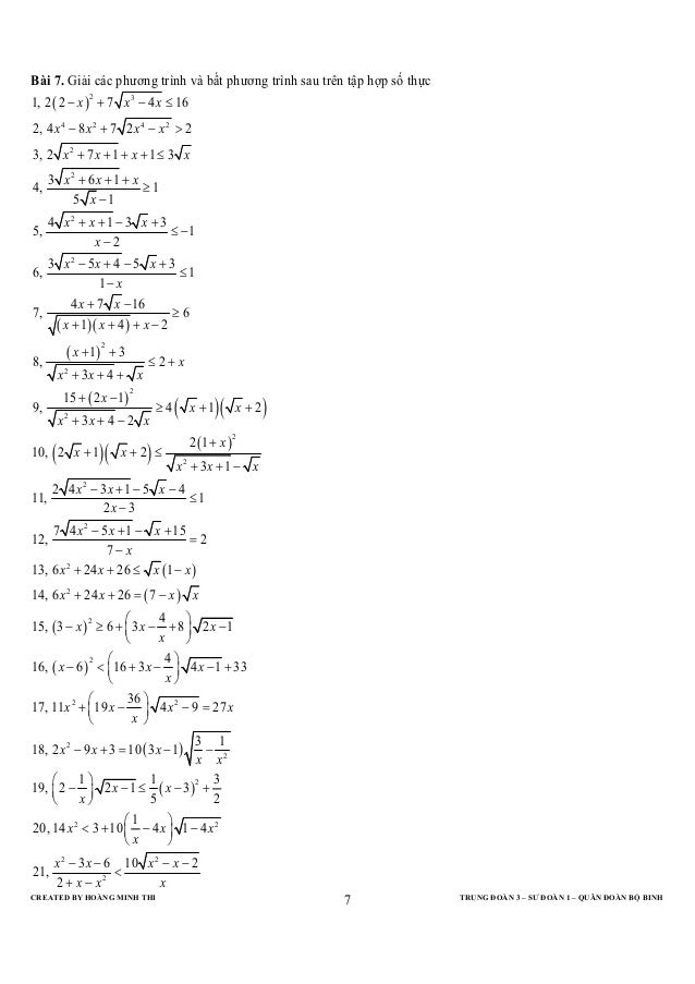 Bài 7. Giải các phương trình và bất phương trình sau trên tập hợp số thực1, 2 ( 2 − x ) + 7 x 3 − 4 x ≤ 16                ...
