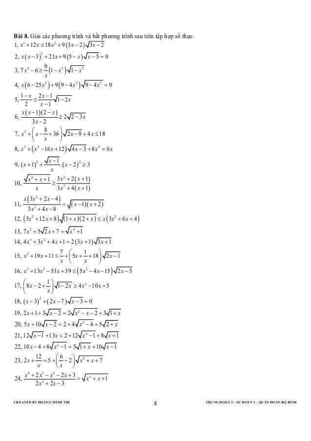 Bài 8. Giải các phương trình và bất phương trình sau trên tập hợp số thực1, x 3 + 12 x ≤ 18 x 2 + 9 ( 3 x − 2 ) 3 x − 22, ...