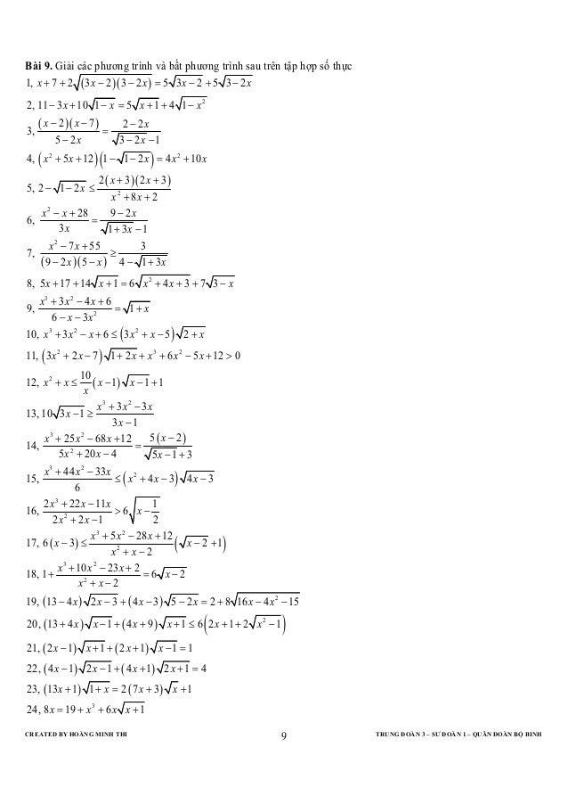 Bài 9. Giải các phương trình và bất phương trình sau trên tập hợp số thực1, x + 7 + 2 ( 3 x − 2 )( 3 − 2 x ) = 5 3x − 2 + ...