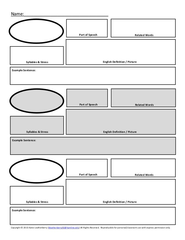 Intermediate vocabulary word journal graphic organizer for Vocabulary graphic organizer templates