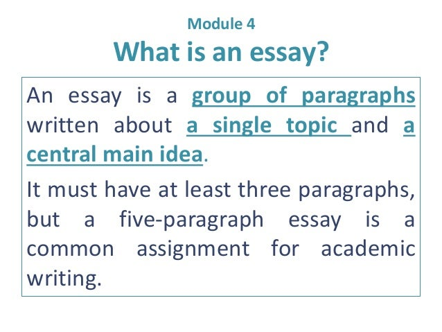 e m what is an essay module 4 what is an essay an essay is a group of paragraphs written about