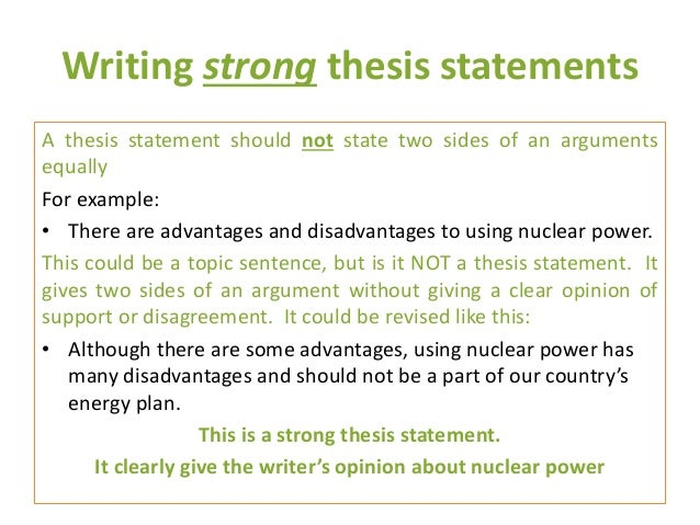 A Thesis Is A _______ Sentence Statement
