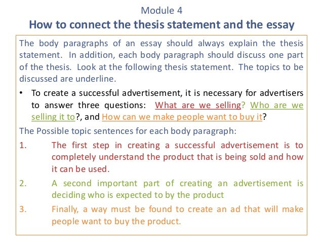 Module 4 How To Connect The Thesis Statement And The Essay The Body  Paragraphs Of An ...
