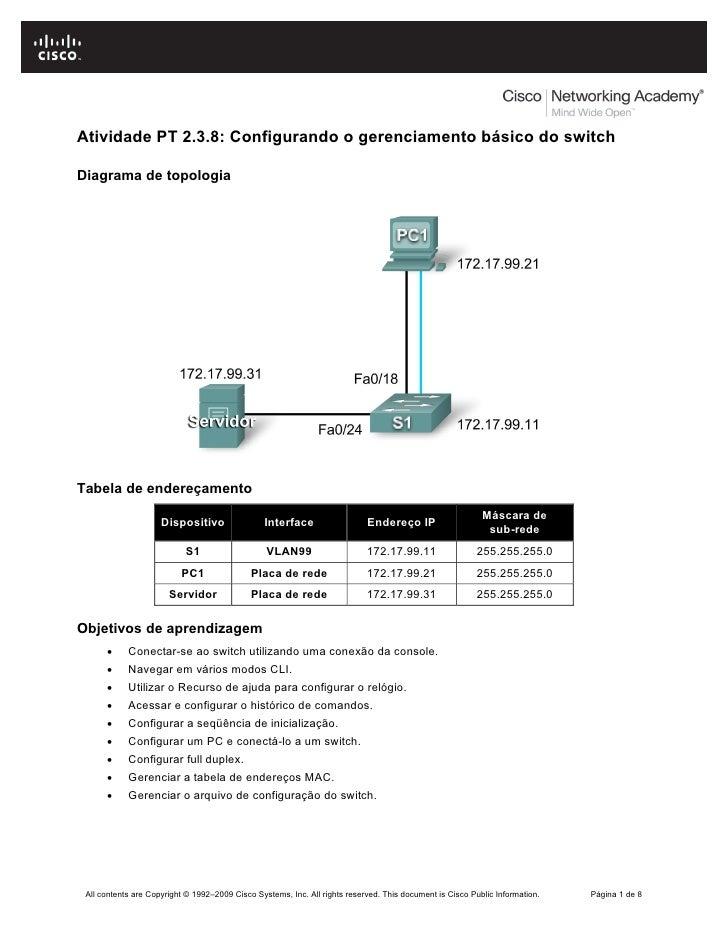Atividade PT 2.3.8: Configurando o gerenciamento básico do switchDiagrama de topologiaTabela de endereçamento             ...