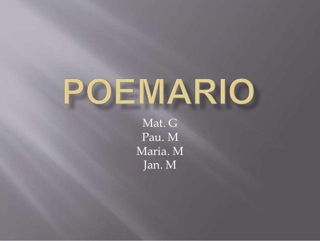 Mat. G Pau. M Maria. M Jan. M
