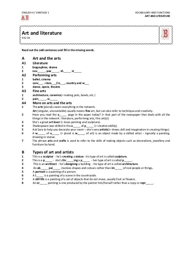 ENGLISH  4  /  VANTAGE  1               VOCABULARY  AND  FUNCTIONS   ART  AND  LITERATURE    ...
