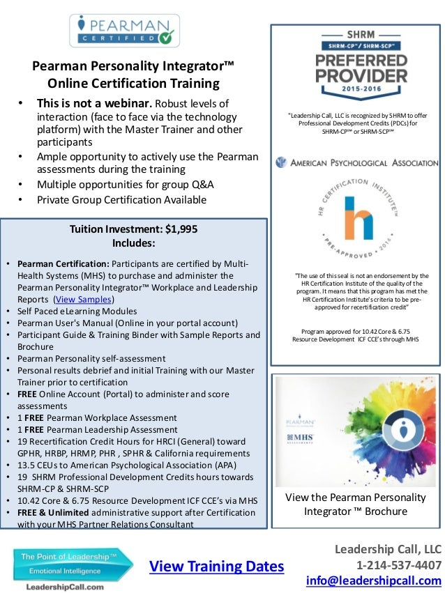 Pearman Certification Flyer