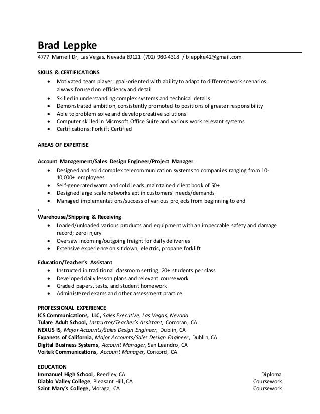 Brad Leppke Resume