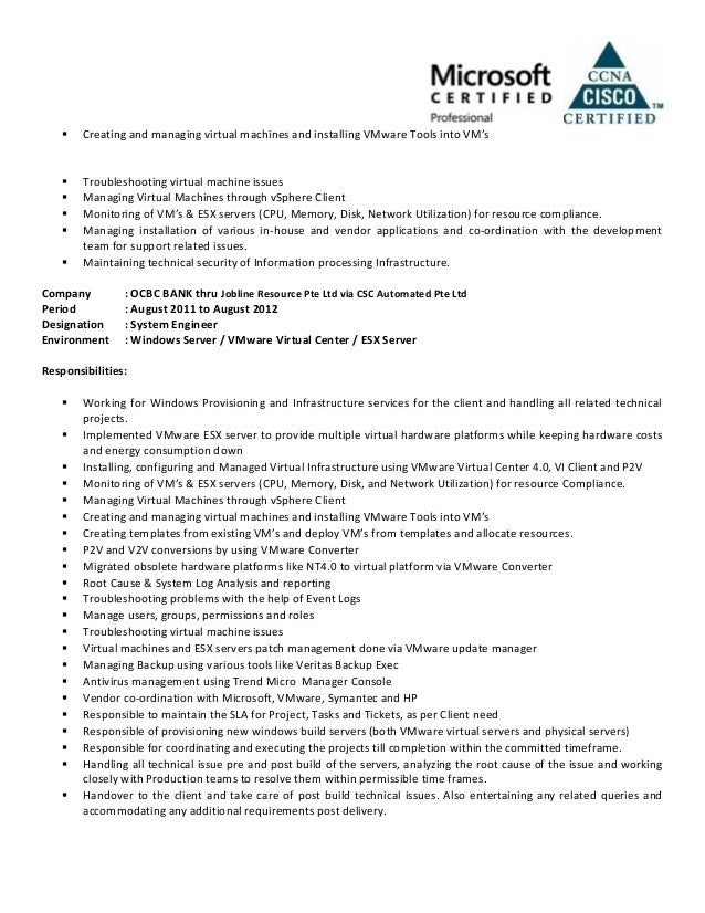 Stunning Vmware Resume Examples Ideas - Simple resume Office .