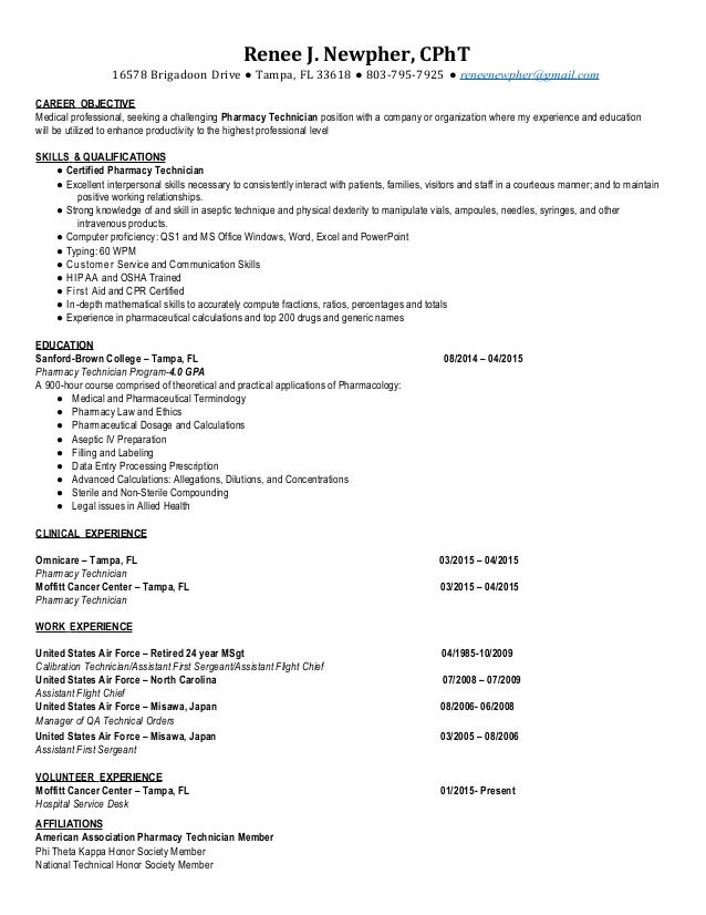 Cpht Pharmacy Technician Resume  Renee Newpher
