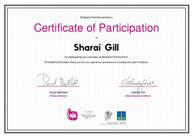 Sharai Gill Brisbane Festival Volunteer Cert 2015