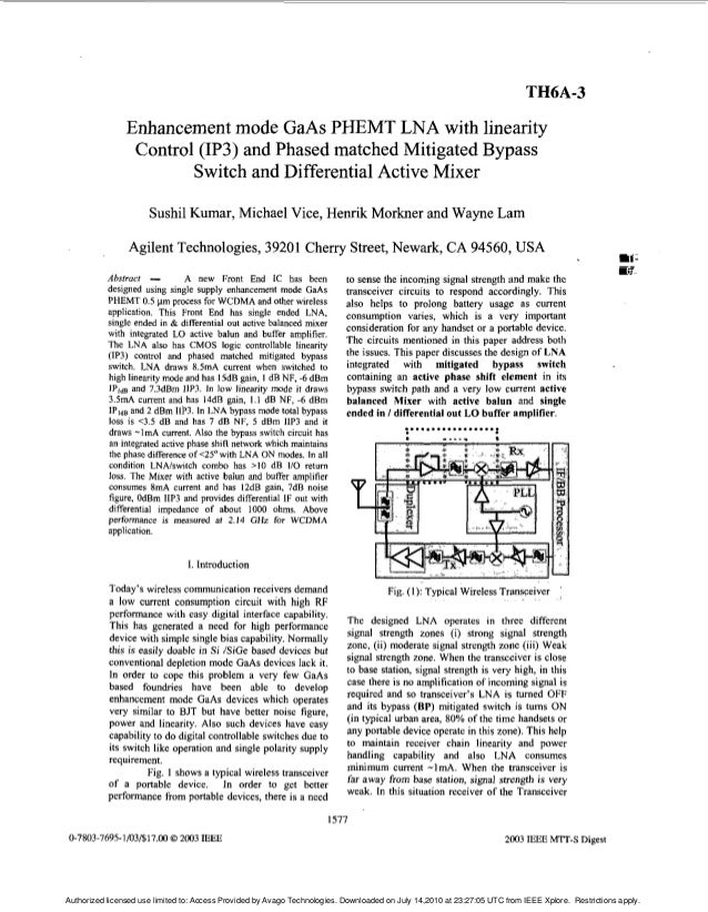 TH6A-3 Enhancement mode GaAs PHEMT LNA with linearity Control (IP3) and Phased matched Mitigated Bypass Switch and Differe...