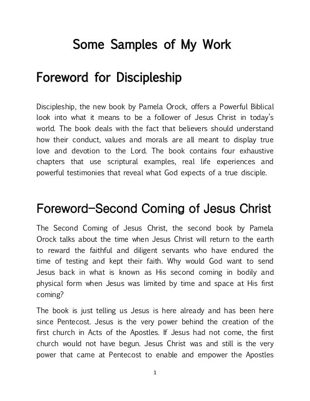 1 Some Samples of My Work Foreword for Discipleship Discipleship, the new book by Pamela Orock, offers a Powerful Biblical...