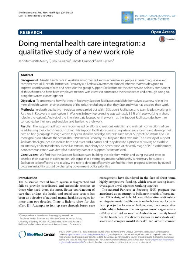 Smith‑Merry et al. Int J Ment Health Syst (2015) 9:32 DOI 10.1186/s13033-015-0025-7 RESEARCH Doing mental health care inte...
