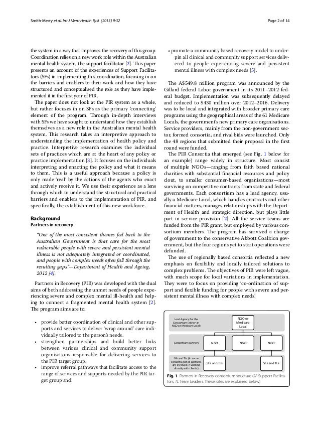 Page 2 of 14Smith‑Merry et al. Int J Ment Health Syst (2015) 9:32 the system in a way that improves the recovery of this g...