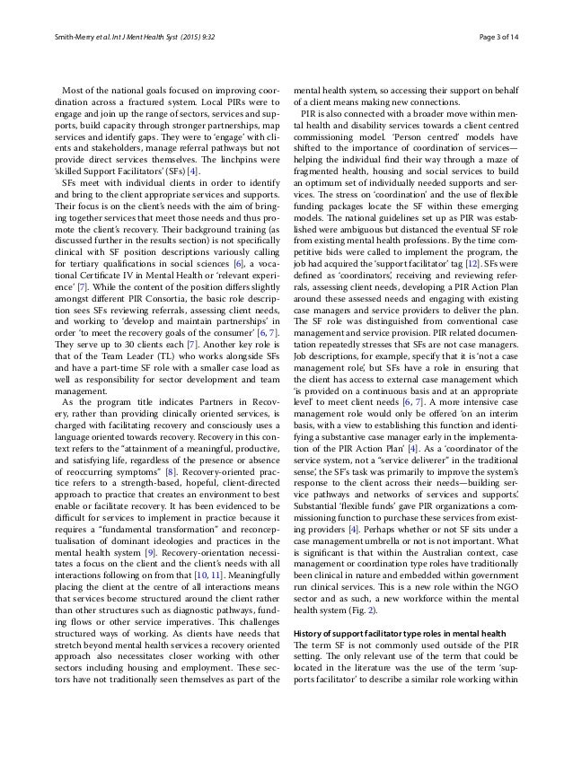 Page 3 of 14Smith‑Merry et al. Int J Ment Health Syst (2015) 9:32 Most of the national goals focused on improving coor- di...