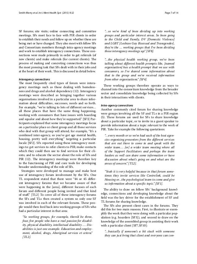 Page 7 of 14Smith‑Merry et al. Int J Ment Health Syst (2015) 9:32 SF forums; site visits; online connecting and committee ...