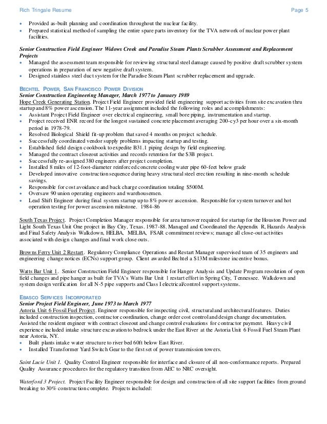 5 rich tringale resume - Nuclear Power Plant Engineer Sample Resume