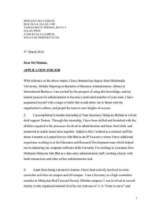 cover letter for job aplication