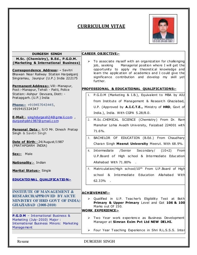 curriculum vitae durgesh singh msc chemistry - Resume For Tgt Science Teacher