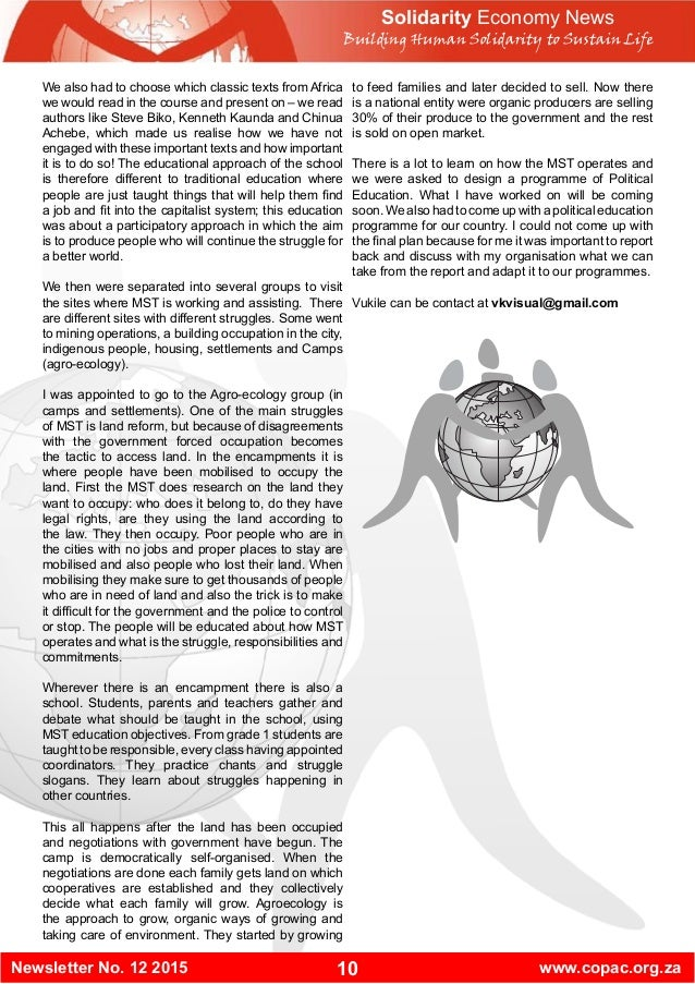 10Newsletter No. 12 2015 www.copac.org.za Solidarity Economy News Building Human Solidarity to Sustain Life We also had to...