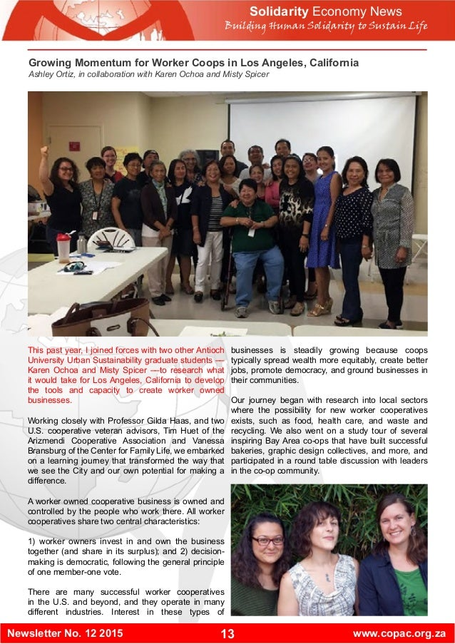 13Newsletter No. 12 2015 www.copac.org.za Solidarity Economy News Building Human Solidarity to Sustain Life This past year...