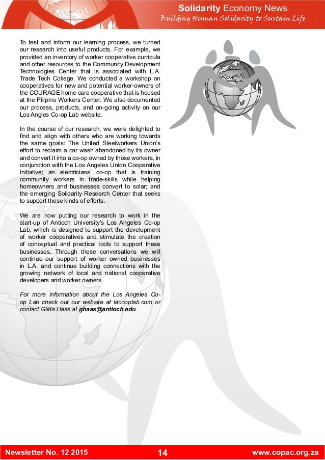 14Newsletter No. 12 2015 www.copac.org.za Solidarity Economy News Building Human Solidarity to Sustain Life To test and in...