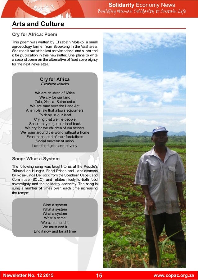 15Newsletter No. 12 2015 www.copac.org.za Solidarity Economy News Building Human Solidarity to Sustain Life Arts and Cultu...