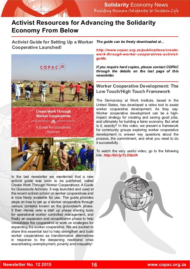 16Newsletter No. 12 2015 www.copac.org.za Solidarity Economy News Building Human Solidarity to Sustain Life Activist Resou...