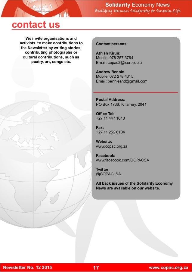 17Newsletter No. 12 2015 www.copac.org.za Contact persons: Athish Kirun: Mobile: 078 257 3764 Email: copac2@icon.co.za And...