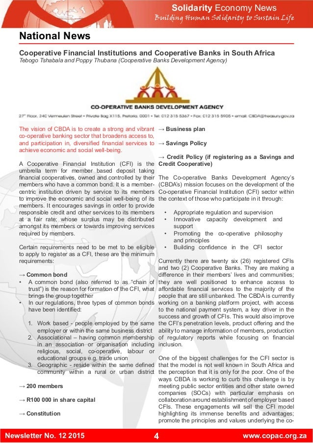 4Newsletter No. 12 2015 www.copac.org.za National News Cooperative Financial Institutions and Cooperative Banks in South A...