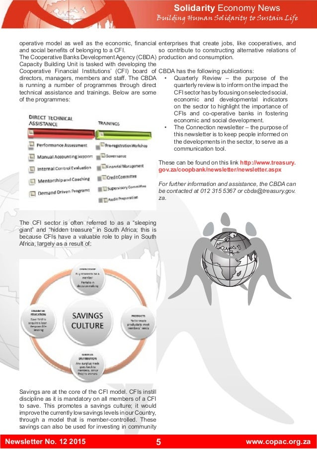 5Newsletter No. 12 2015 www.copac.org.za Solidarity Economy News Building Human Solidarity to Sustain Life operative model...