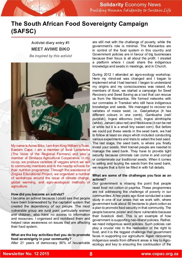 8Newsletter No. 12 2015 www.copac.org.za Solidarity Economy News Building Human Solidarity to Sustain Life The South Afric...