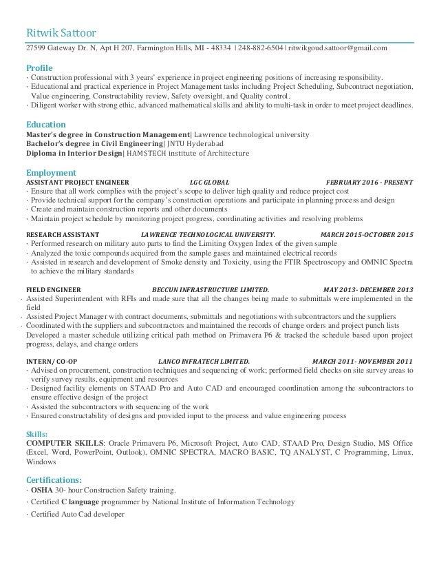RitwikSattoor 27599 Gateway Dr. N, Apt H 207, Farmington Hills, MI - 48334 | 248-882-6504 | ritwikgoud.sattoor@gmail.com...