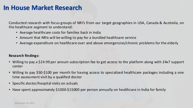 Conducted research with focus groups of NRI's from our target geographies in USA, Canada & Australia, on the healthcare se...