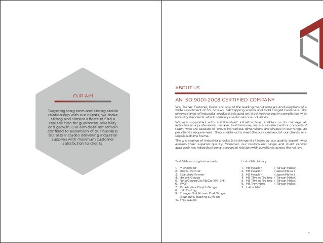 Company Profile - Tushar Fastener Slide 2