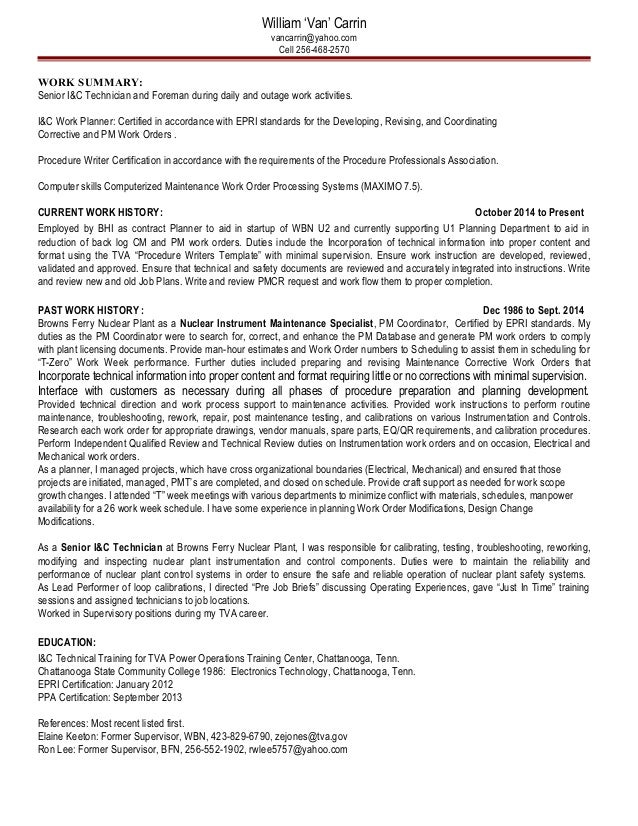 resume for van carrin ic tech ic planner and procedure writer certified writer resume