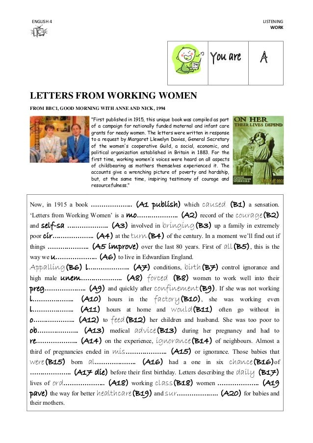 """ENGLISH 4  LISTENING WORK  LETTERS FROM WORKING WOMEN FROM BBC1, GOOD MORNING WITH ANNE AND NICK, 1994 """"First published in..."""