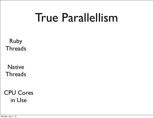 True Parallellism Ruby Threads Native Threads CPU Cores in Use Monday, July 1, 13