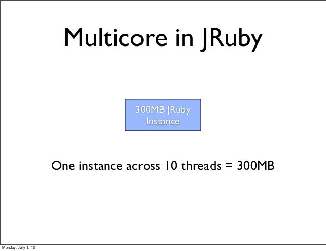 Multicore in JRuby 300MB JRuby Instance One instance across 10 threads = 300MB Monday, July 1, 13